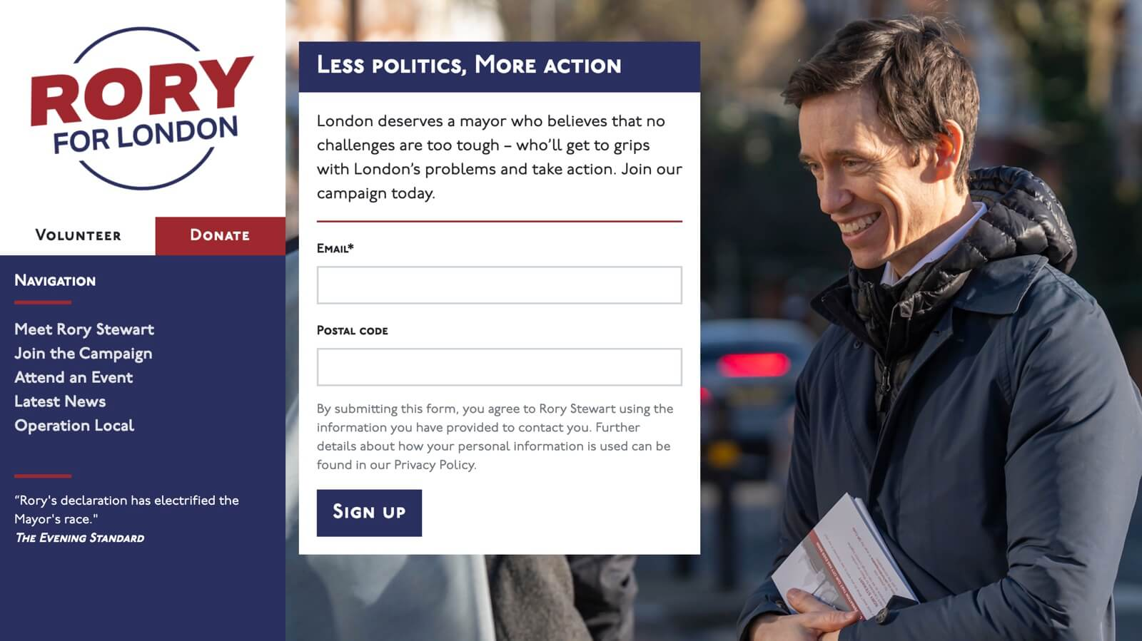 Screenshot: Rory Stewart's Redesigned Homepage