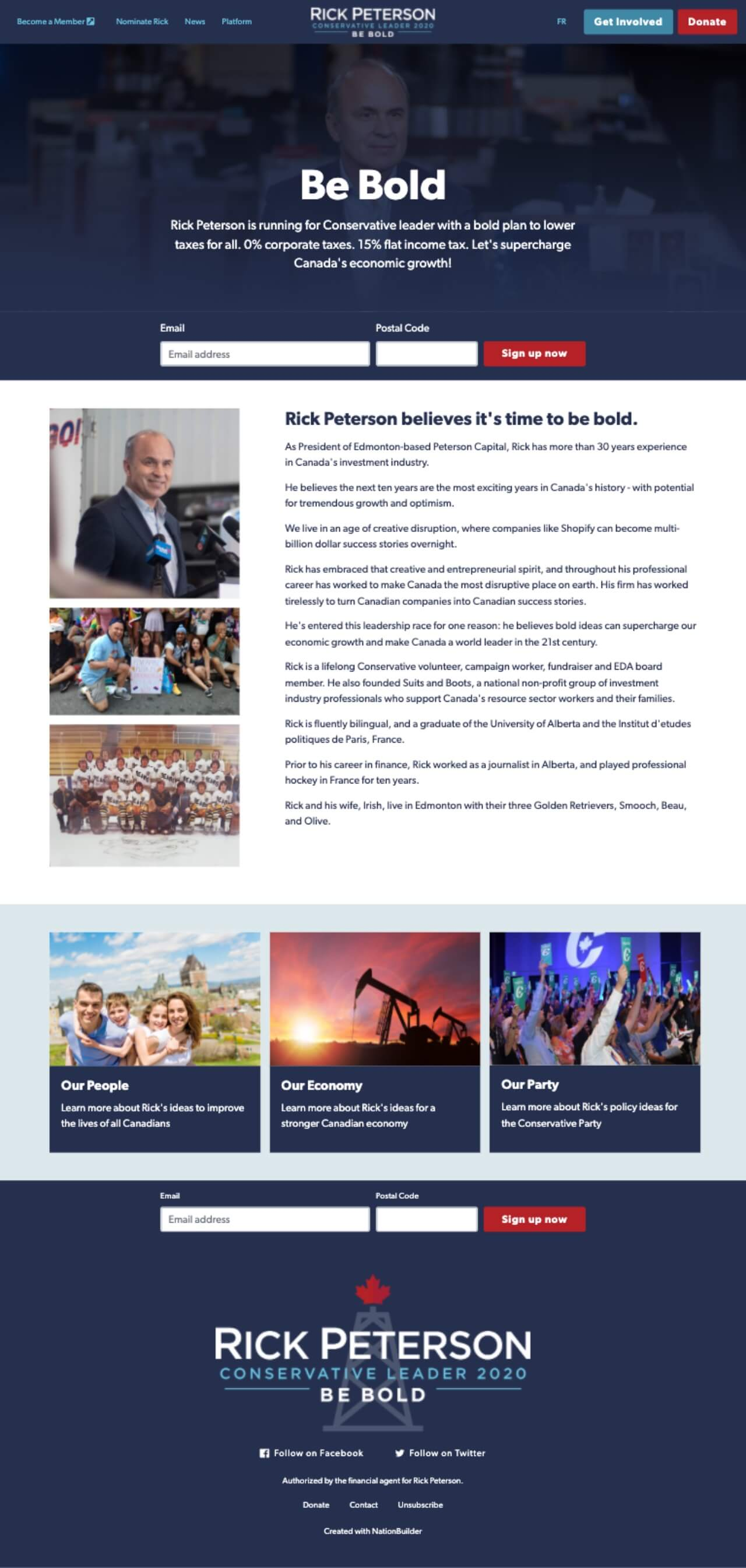 Case Study Nationbuilder Website Design For Canada S Rick Peterson Hines Digital