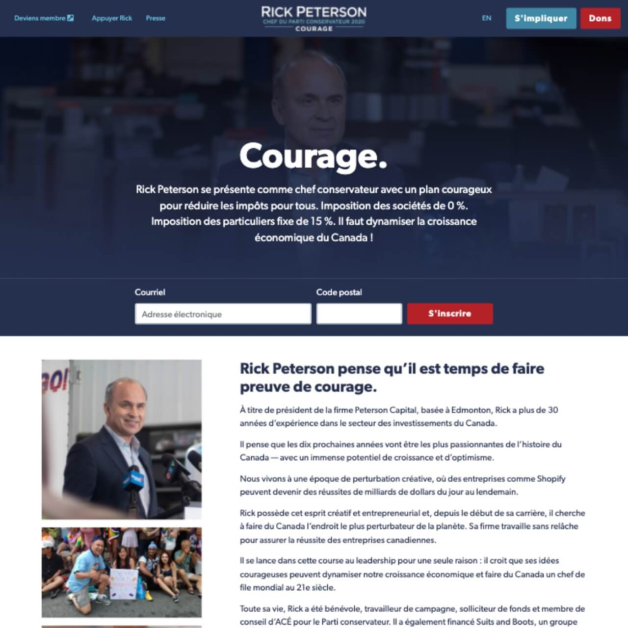 Screenshot: Rick Peterson's French-Language Homepage (2020-03-02)
