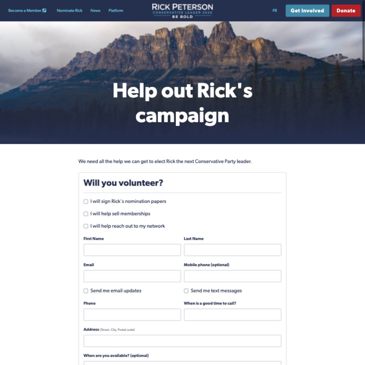 Screenshot: Rick Peterson's English-Language Volunteer Page (2020-03-02)