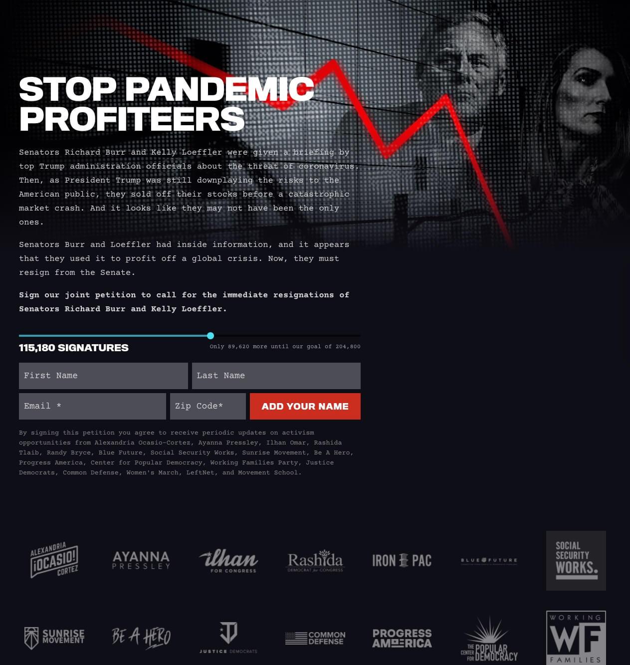 Screenshot: PandemicProfiteers.com