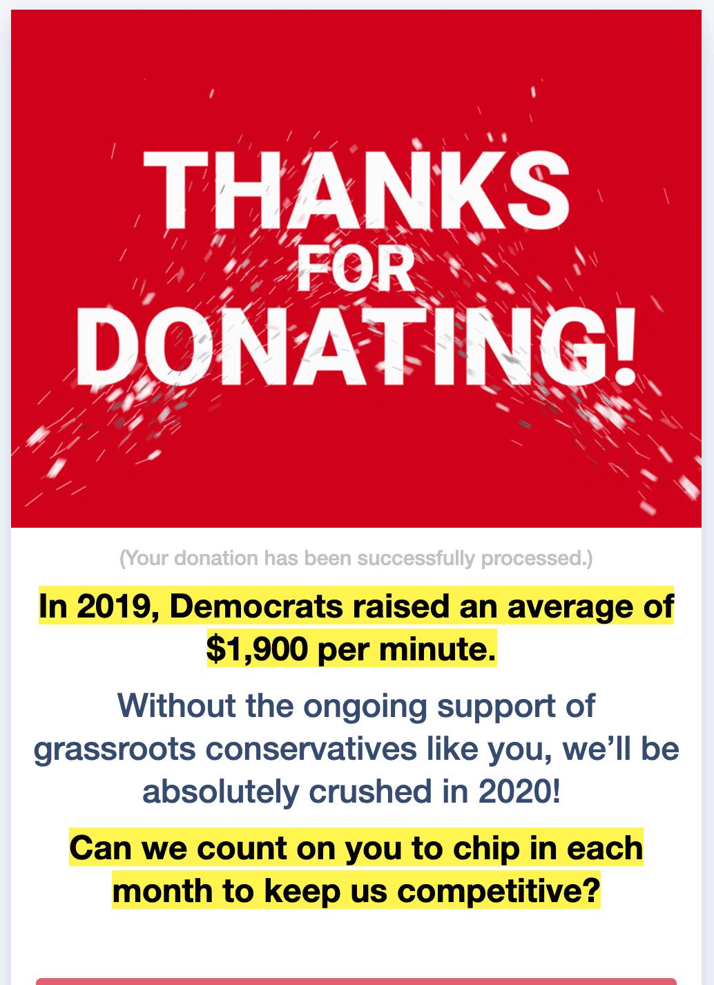 Screenshot: WinRed Recurring Donation Upsell