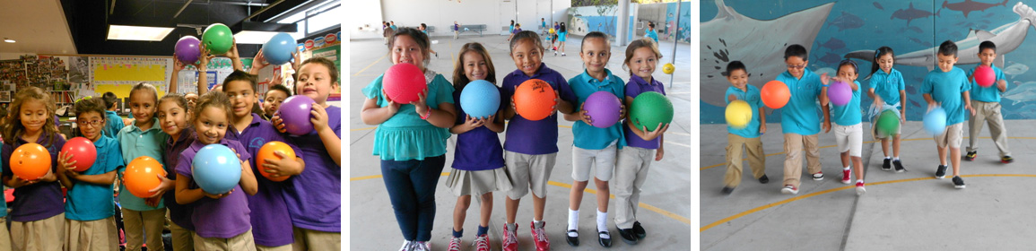 students with balls