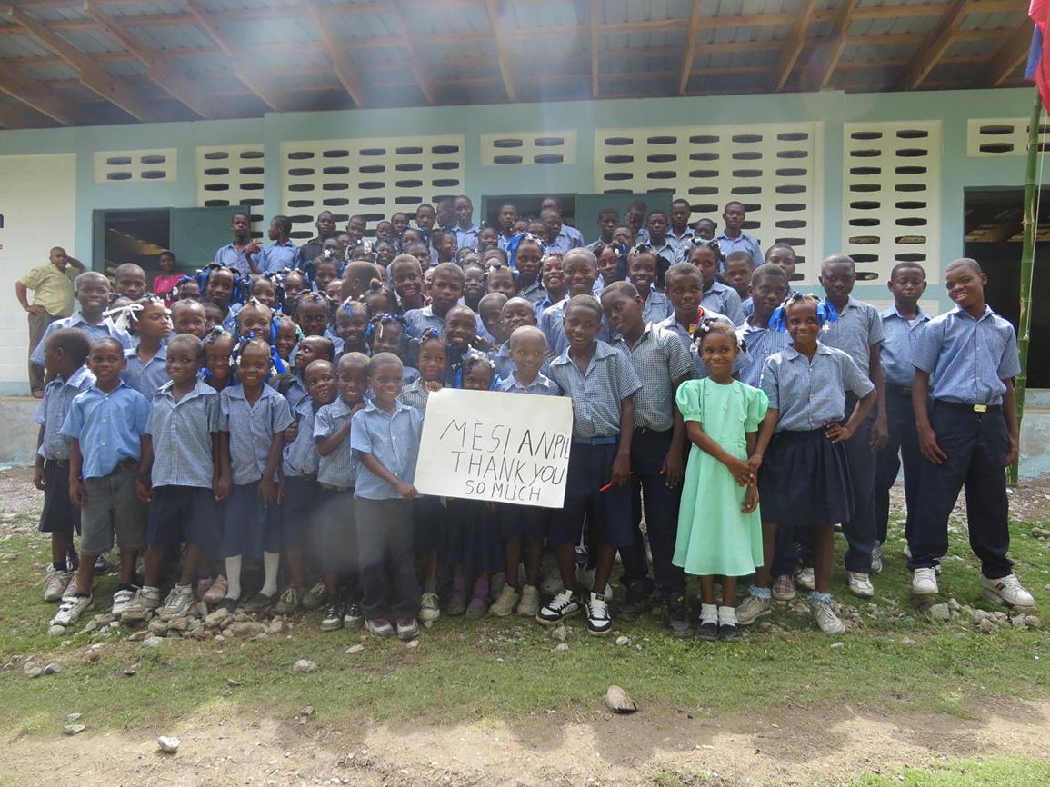 Kids in Front of New School