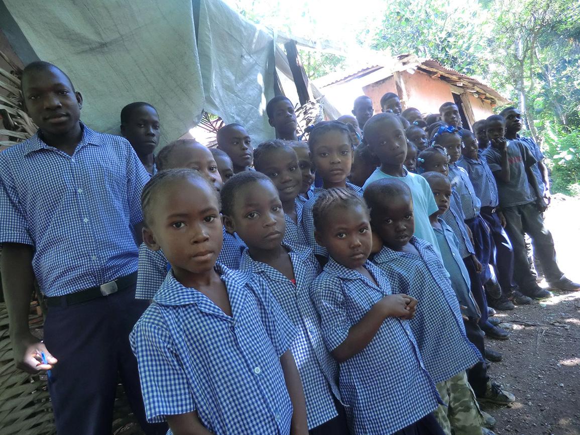 Kids in Front of Old School