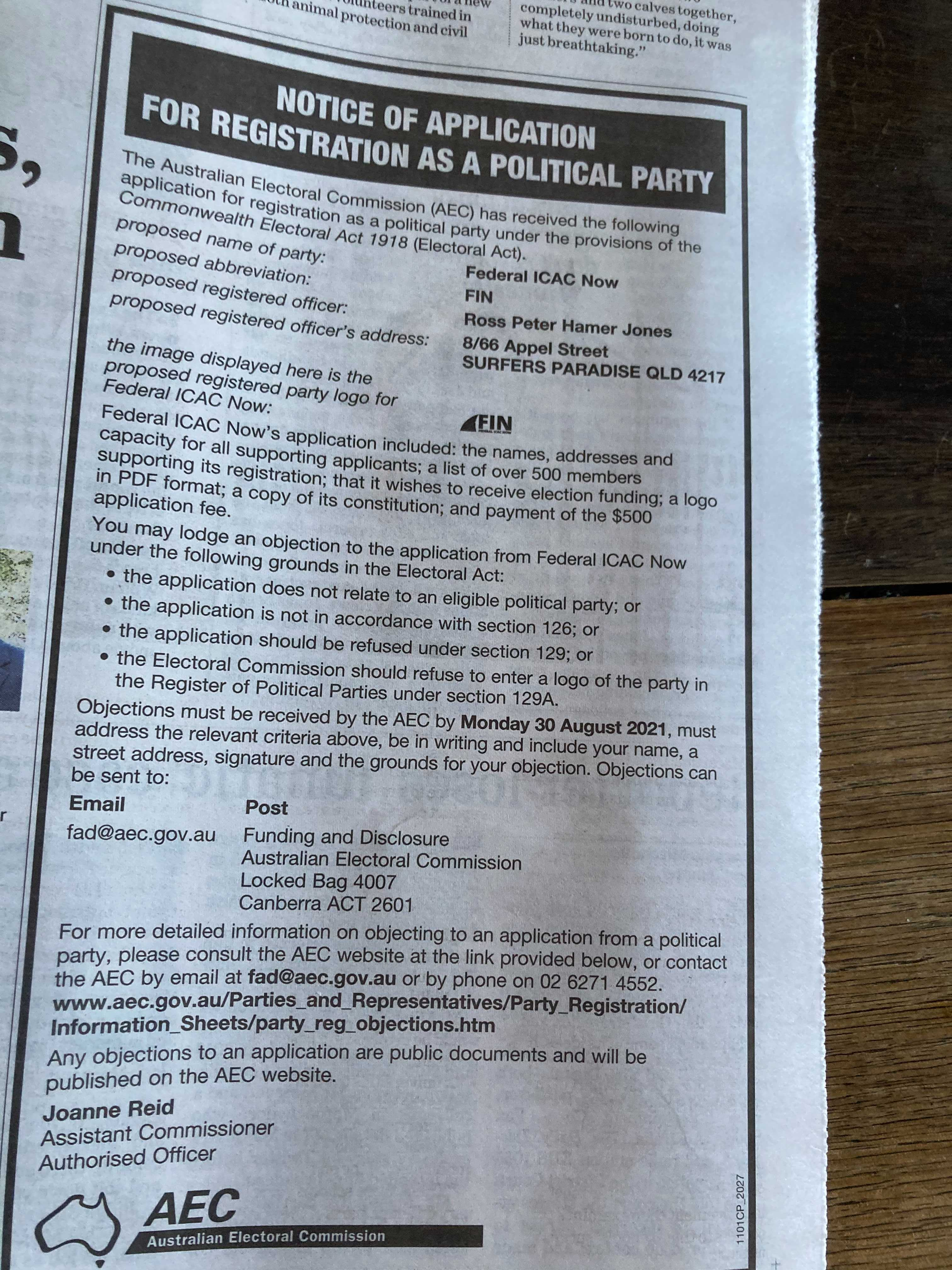 Photos of AEC Ad placed in Newspapers