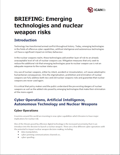 ICAN emerging technologies Report Cover