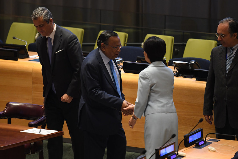 Mr. Abul Hassan Mahmood Ali, Minister for Foreign Affairs of Bangladesh  United Nations Headquarters, New York, 20 September 2017  Credit: Darren Ornitz/ICAN