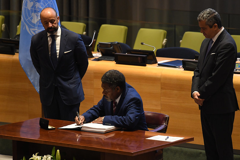 Mr. Bruno Leingkone, Minister for Foreign Affairs, International Cooperation and External Trade of Vanuatu signed the TPNW on 20 September 2017