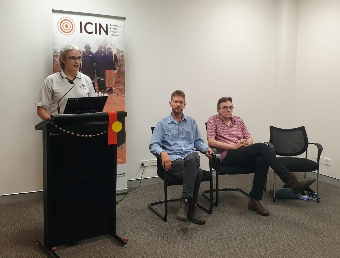 Dr. Sally Cutler (BoM), Mr Rohan Fisher (CDU) and Dr. Peter Jacklyn (CDU), presenting at the 2021 North Australia Savanna Fire Forum