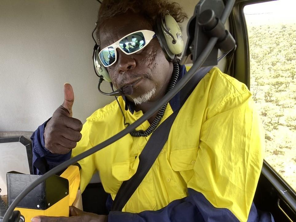 Nyaliga Ranger Warren conducts an aerial burn in the 2020 early dry season