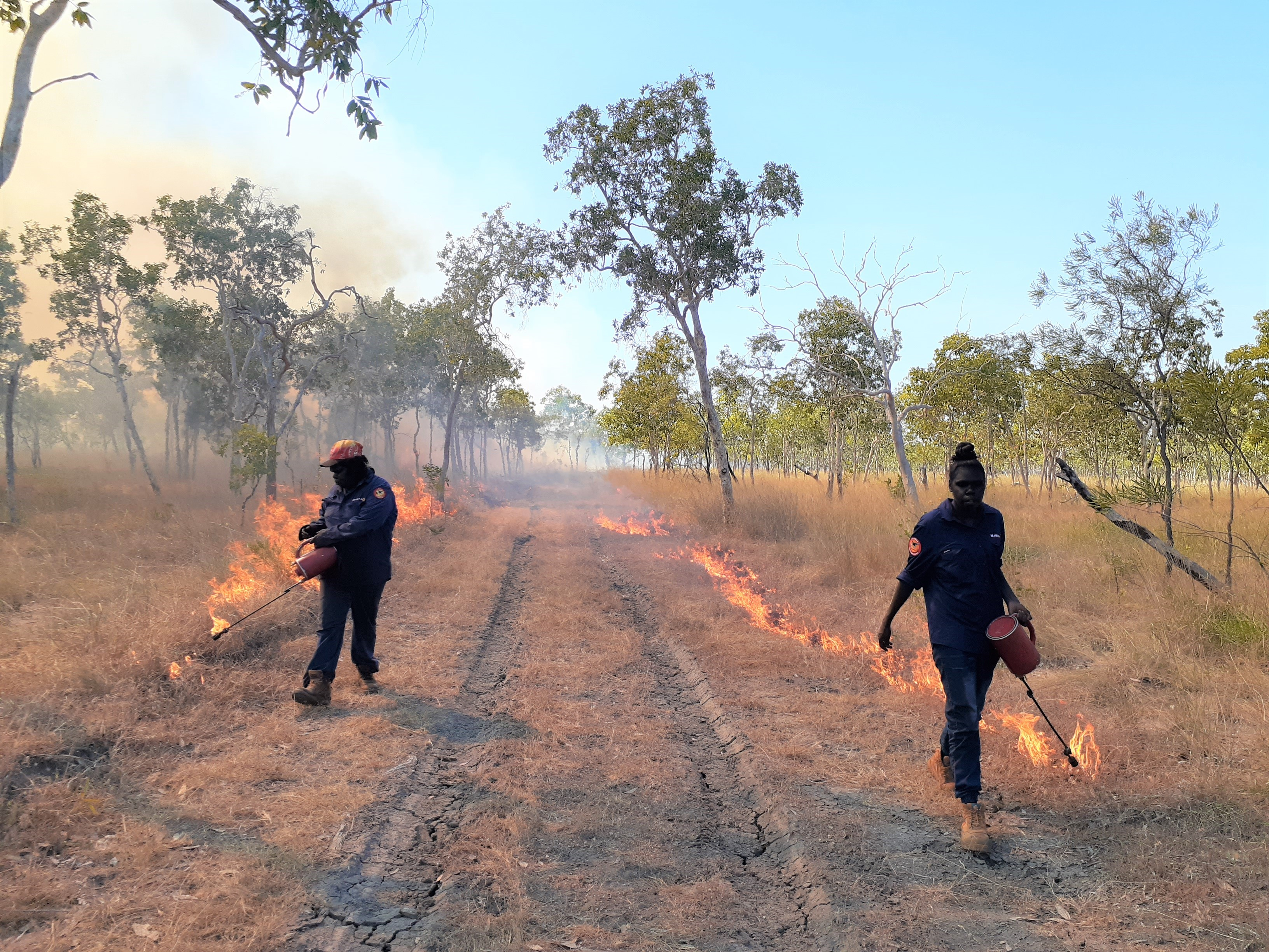 Mimal women rangers burn their country in the 2019 early dry season to prevent hot wildfires later in the year