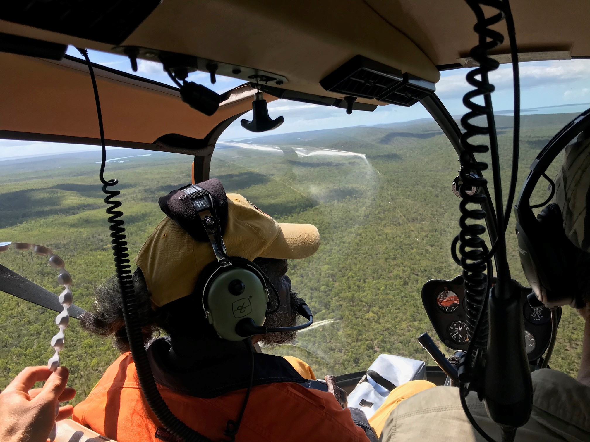 Yirralka Rangers conduct an aerial burn from helicopter in the 2020 early dry season Laynhapuy