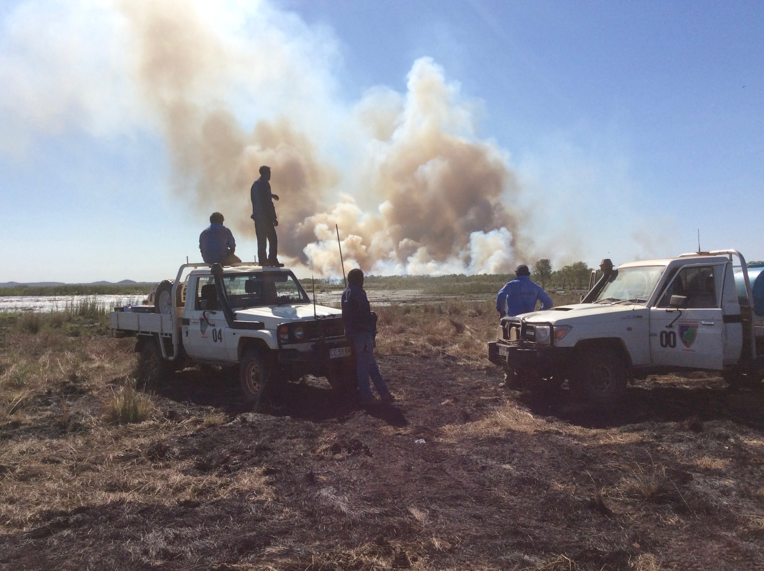 Thamarrurr Rangers work with neighbours to manage fire across the Daly region of the Northern Territory