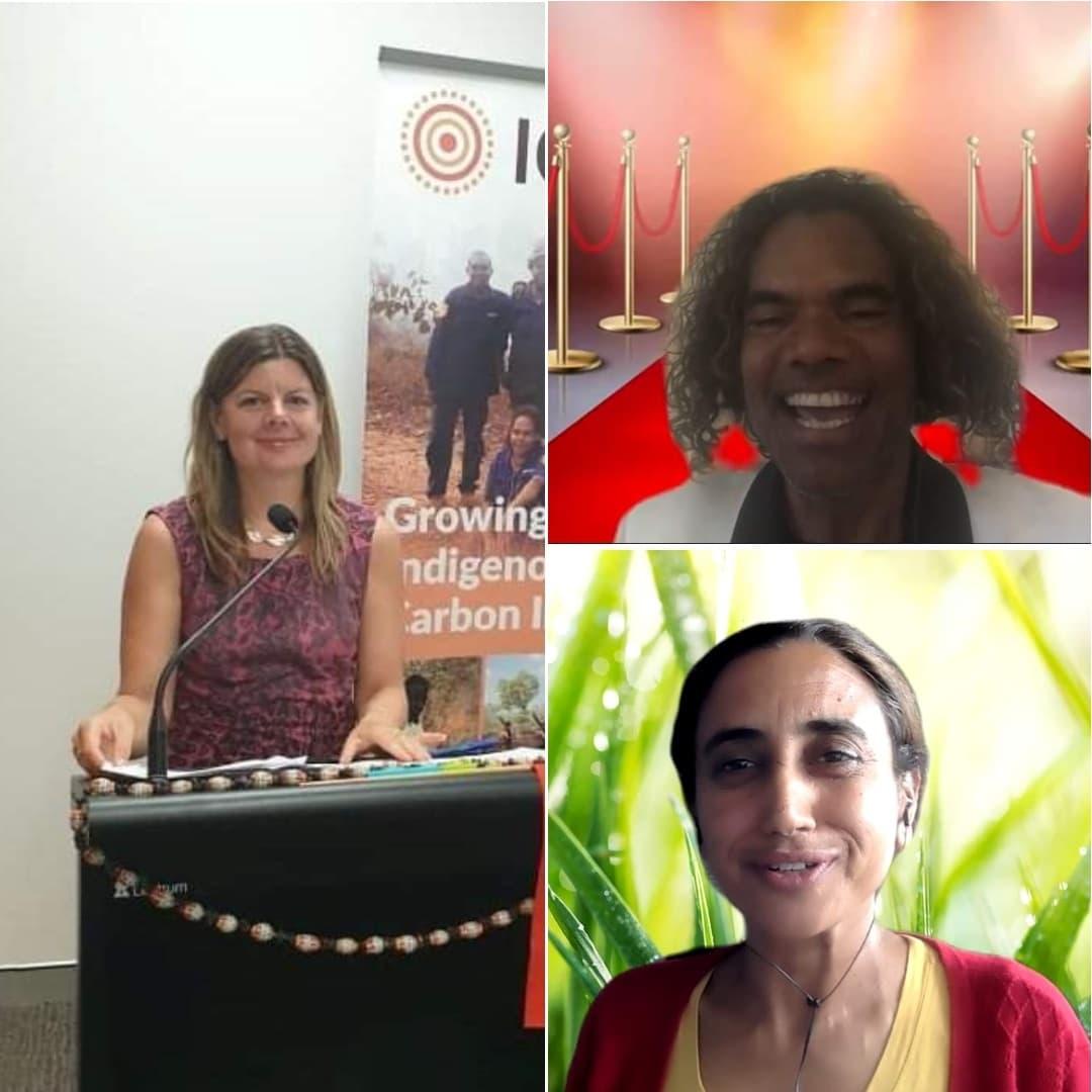 Our guest judges, Jane Bardon, Sean Choolburra and Kamaljit Sangha, announcing the winners at the 2021 North Australia Savanna Fire Forum