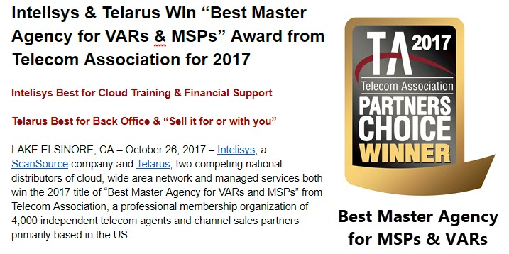 Intelisys & Telarus Best Master Agency for VARs & MSPs