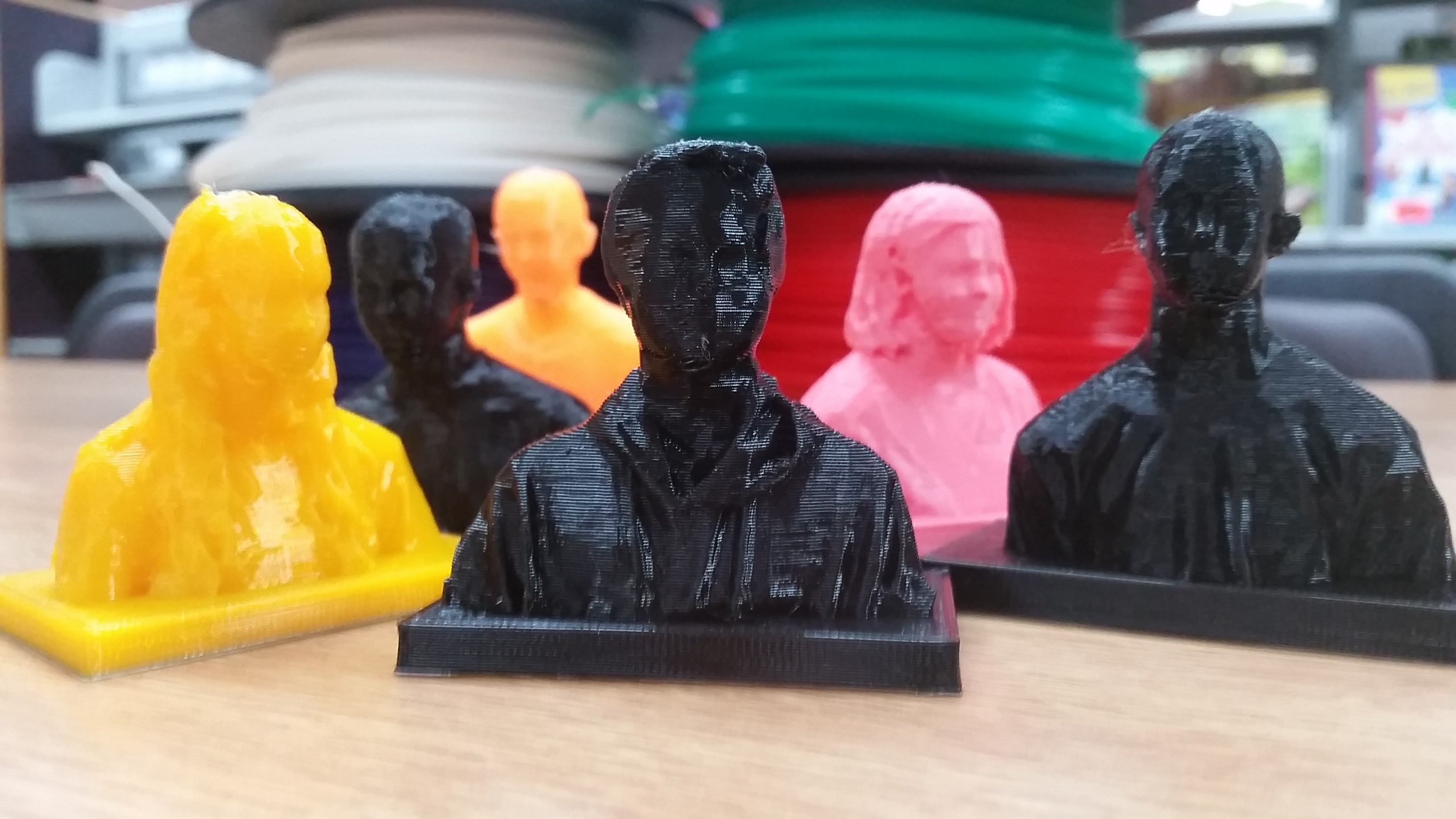 3D prints of scanned busts