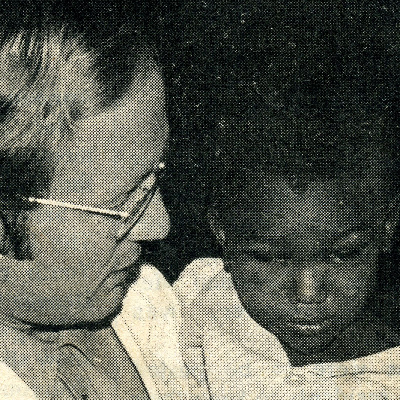 Dr. Larry Schwab in Ethiopia with a patient