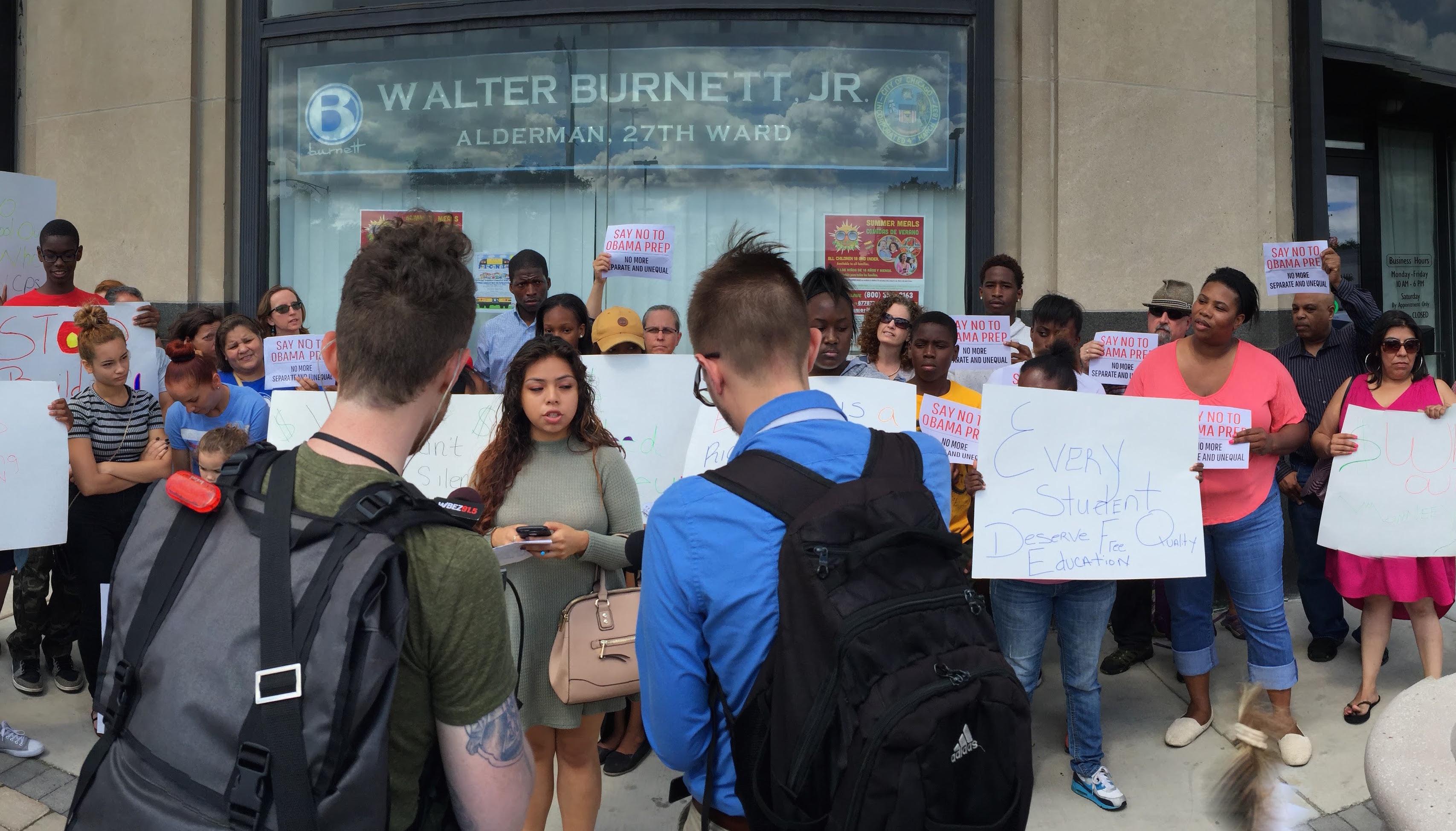Rally outside Alderman Burnett's office, July 2016