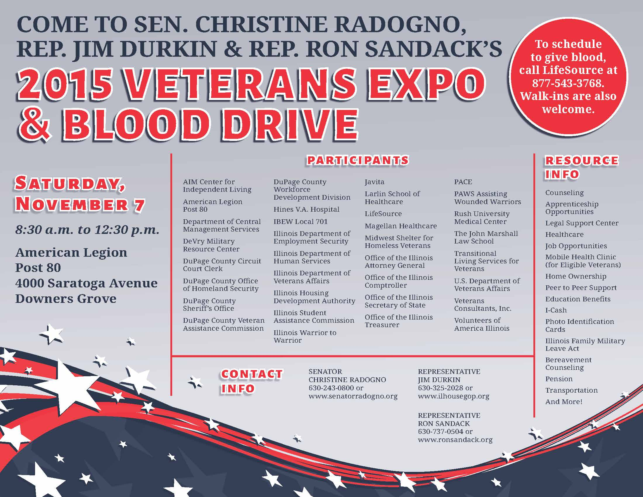 2015 Veteran's Expo & Blood Drive - Office of the Republican