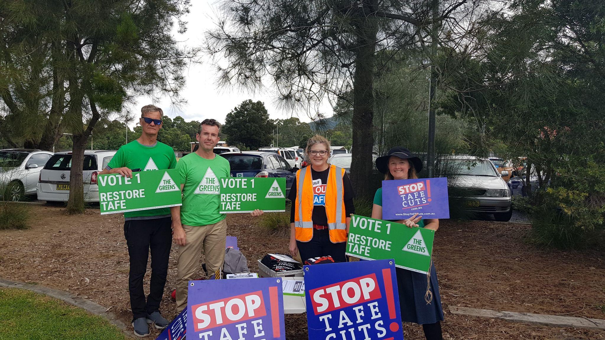 Illawarra locals protest TAFE staff losses.