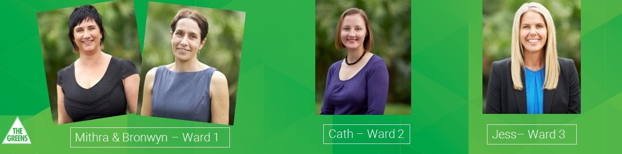 Greens background and logo, with head and shoulders photos of four candidates