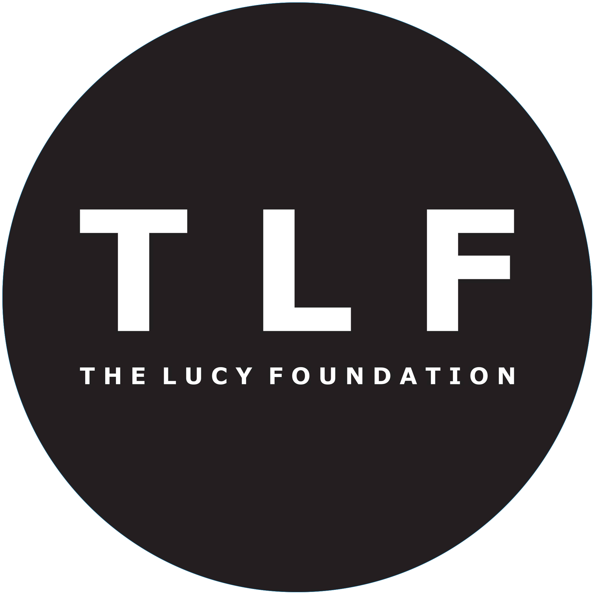 The Lucy Foundation in white text, against a round black background