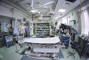 An ER triage room loaded with medical supplies