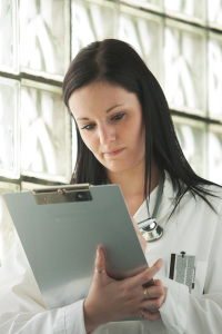 Doctor reviewing a patient chart
