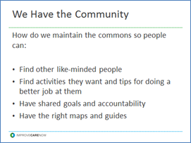 A listing of the things we want people to be able to do as part of our commons