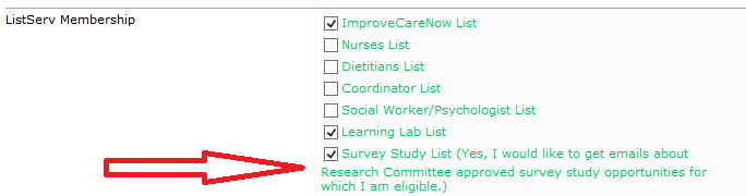 ImproveCareNow participants can sign up for survey research in the Contact Management System