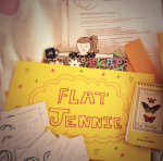Flat Jennie travels in style. She arrives in a brightly colored envelope with medical history and PAC business cards.