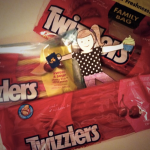 Flat Jennie just loves Twizzlers