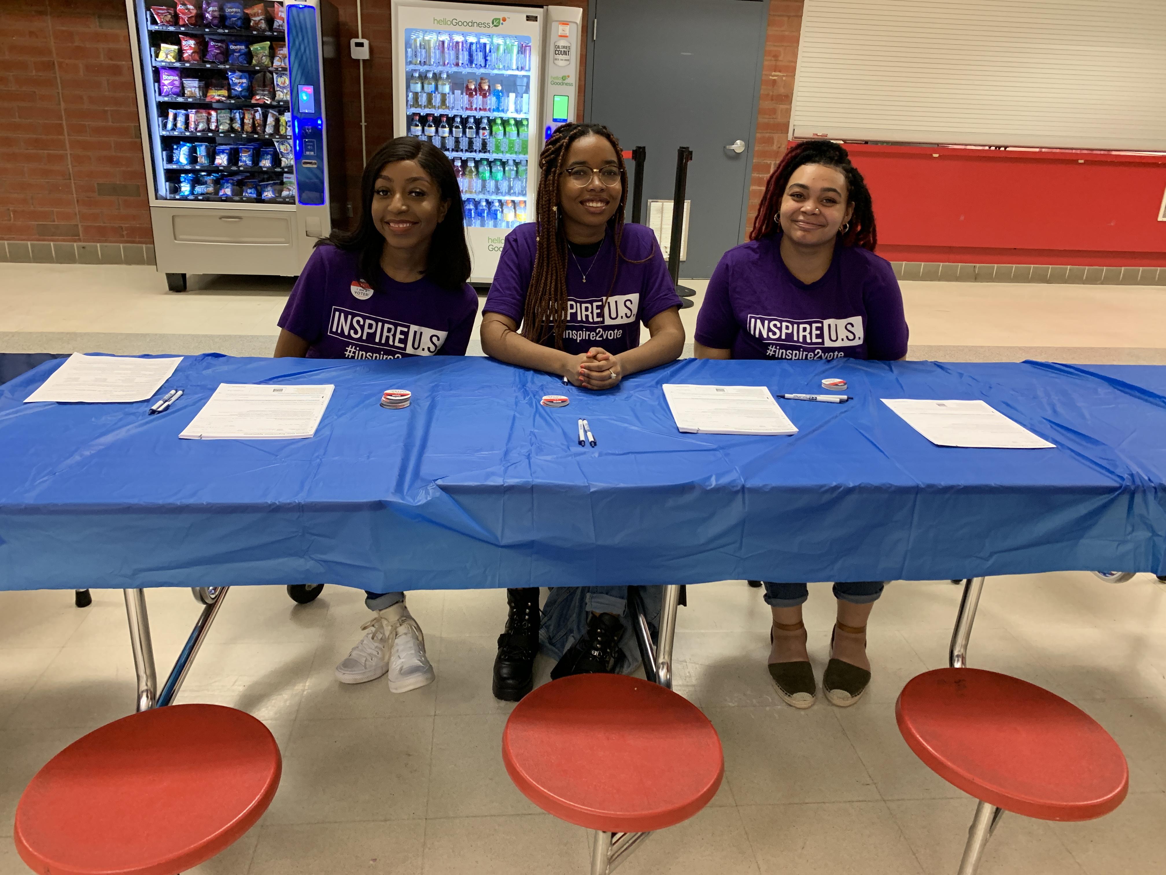 student leaders register their peers to vote