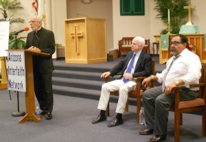 Catholic Bishop Gerald Kicanas, Senator John McCain & Rep. Raul Grijalva challenged at AZ Interfaith conference with 150 in attendance.