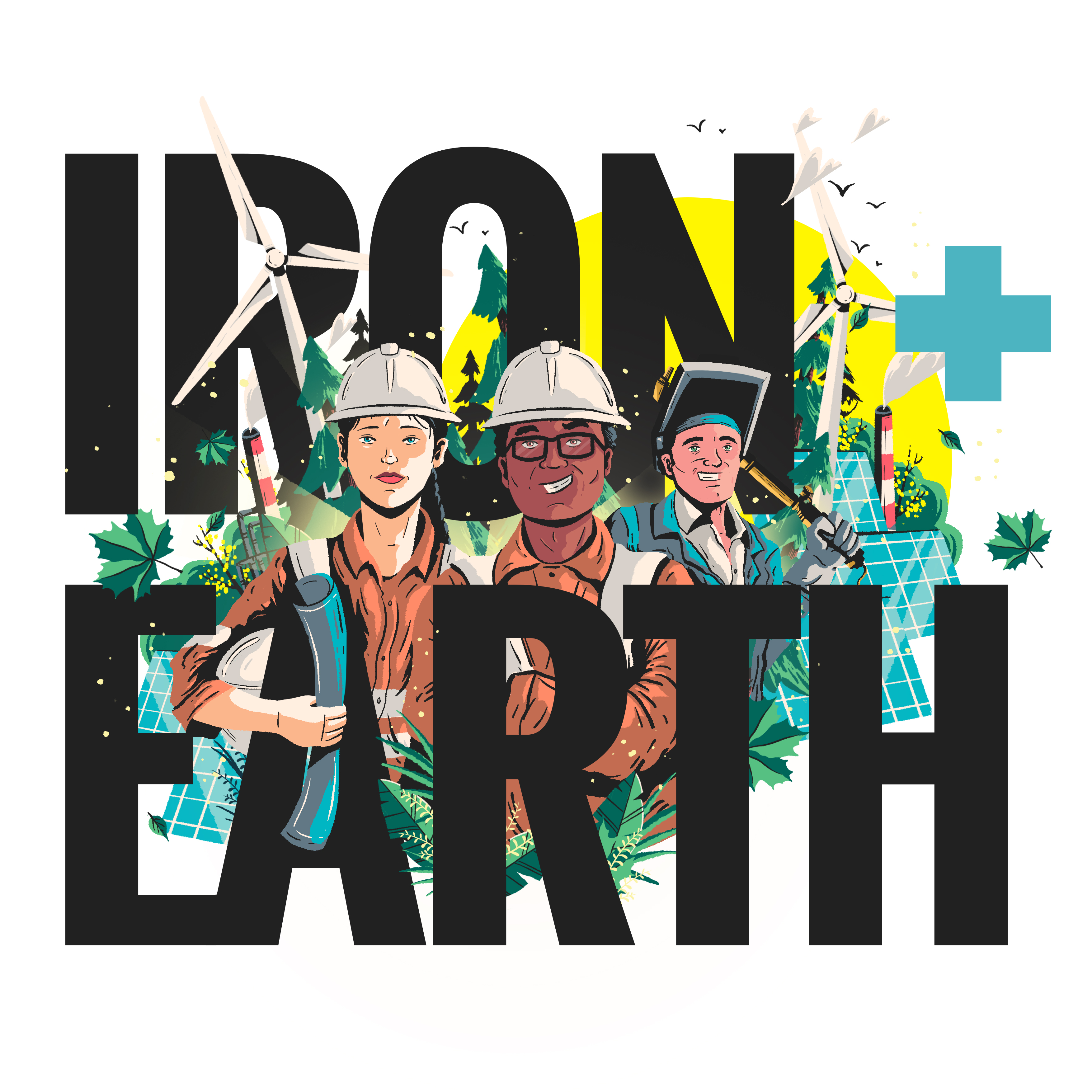 illustration of energy workers