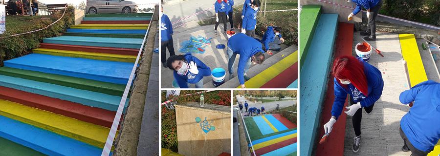 İBB Şehir Parkı Merdivenlerini Renklendirdik