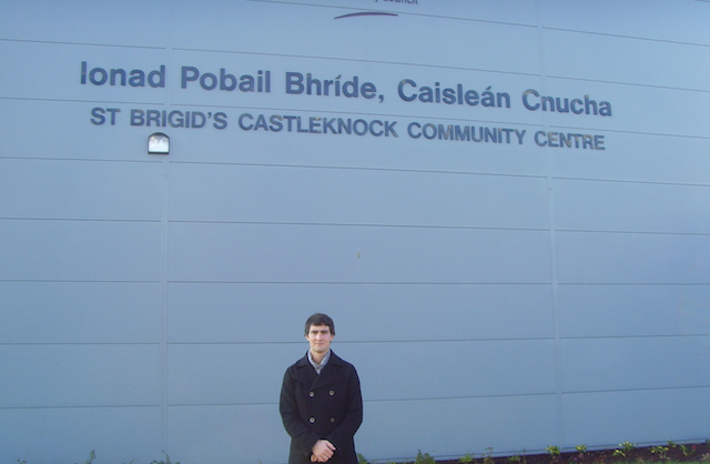 Jack Chambers, Fianna Fáil, outside St. Brigids New Sports Hall in Castleknock