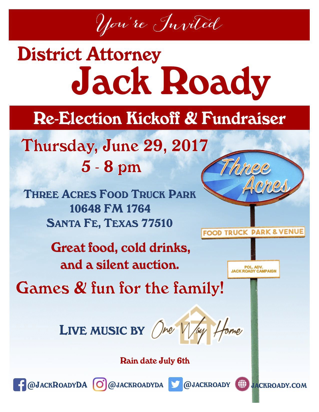 Jack Roady Kickoff Flyer