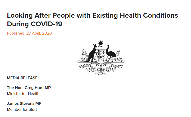 Looking After People with Existing Health Conditions During COVID-19
