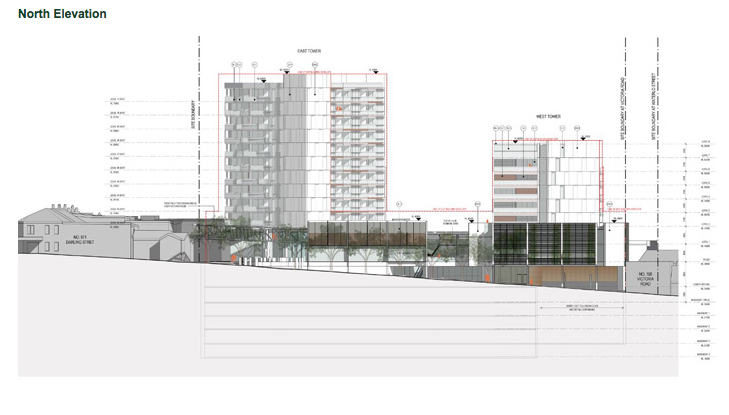 Architect drawing of Rozelle Towers current DA