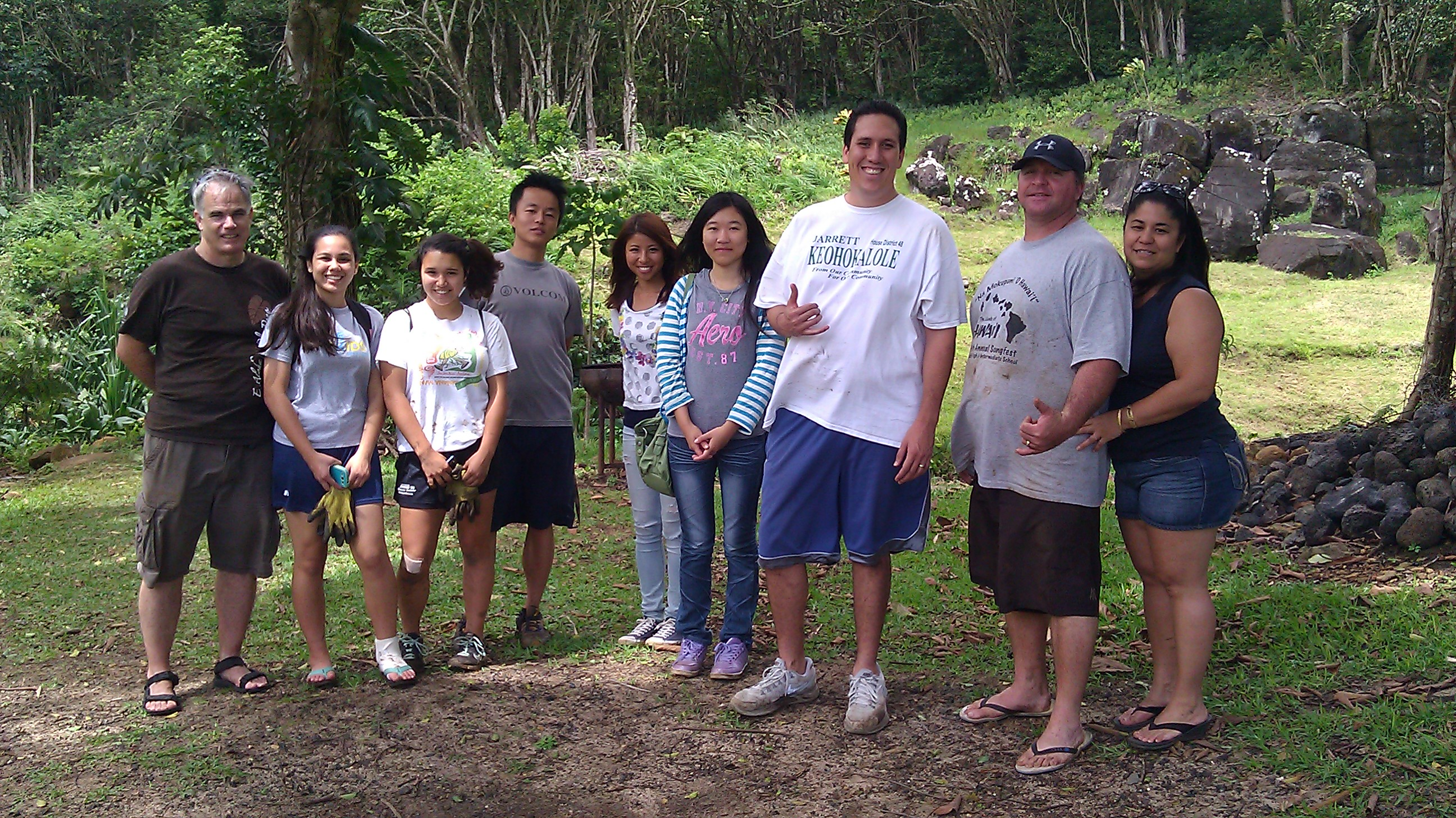 Here was some of the crew from the workday. Kamehameha Schools and University of Hawai'i students, as well as community members and families all pitched in to help malama aina here at beautiful Papahana Kuaola in the back of Haiku Valley.