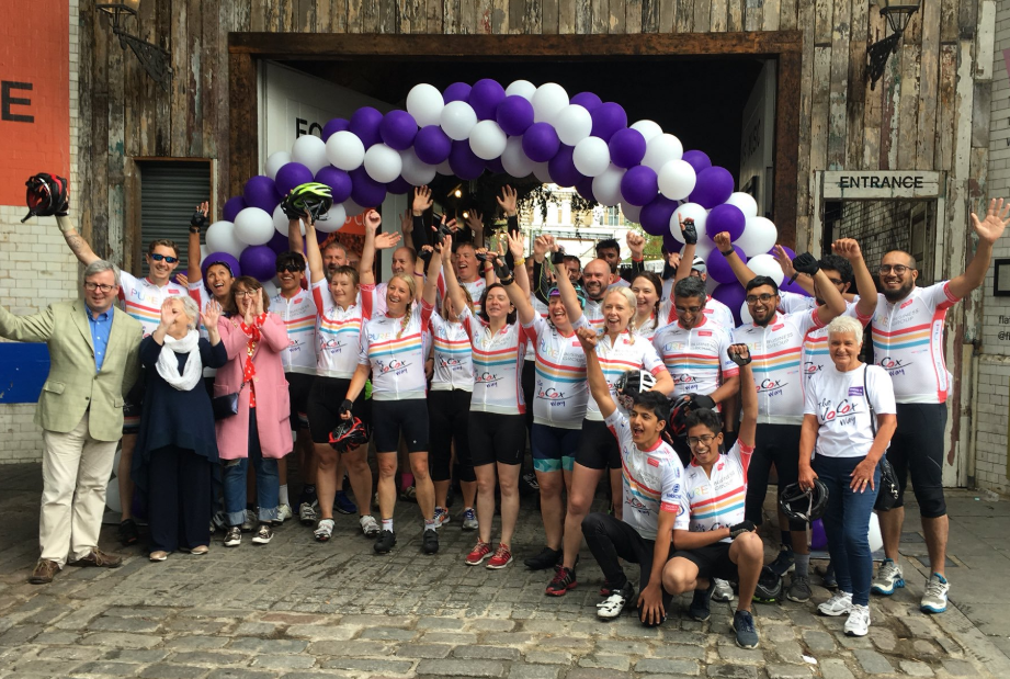Cyclists from the 2018 Jo Cox Way celebrate at the finishing line