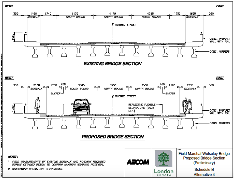 Proposed bridge cross section