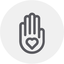An outline of a hand, facing you, with a heart visible on the palm. It makes you feel warm and charitable.