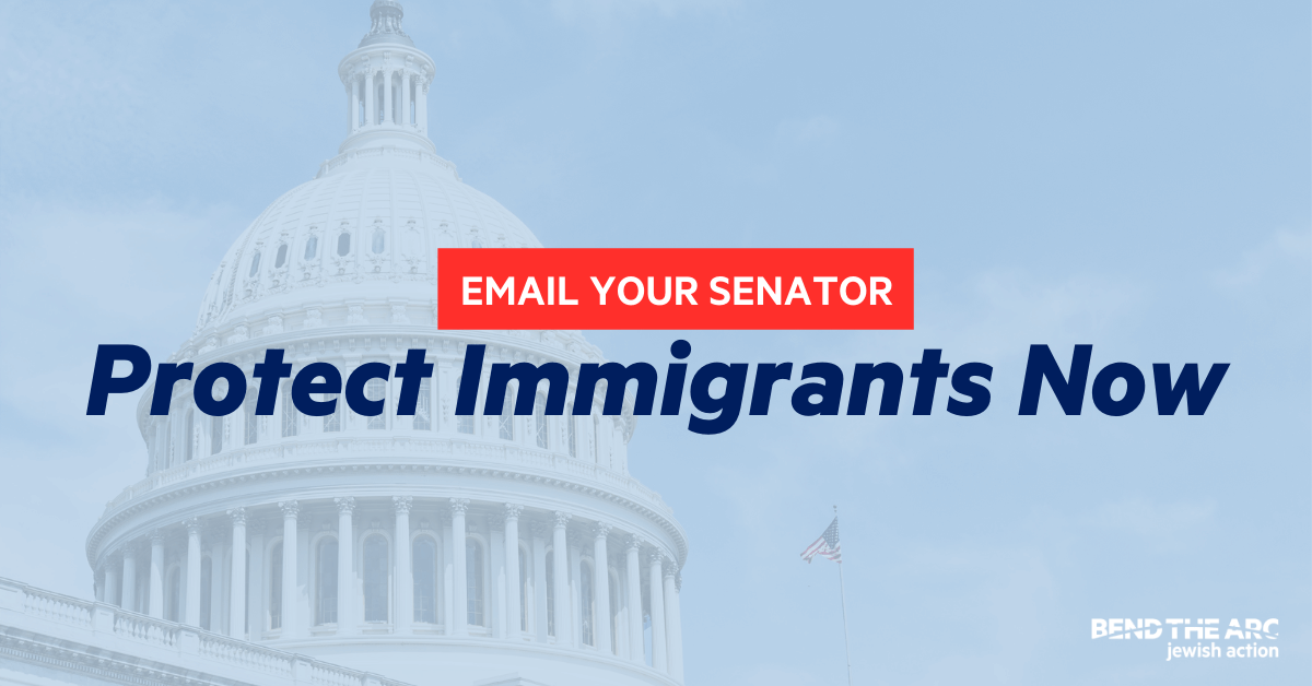 Picture of the Capitol with the words Email your Senator: Protect Immigrants Now
