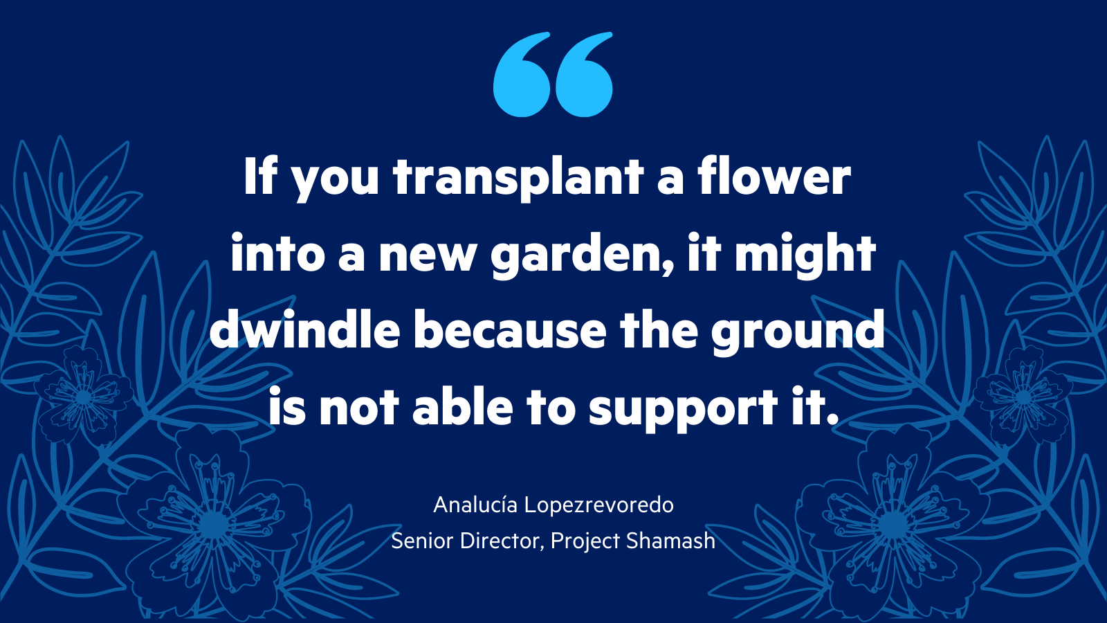 Quote from Analucía Lopezrevoredo, Project Shamash Senior Director: if you transplant a flower into a new garden, it might dwindle because the ground is not able to support it.
