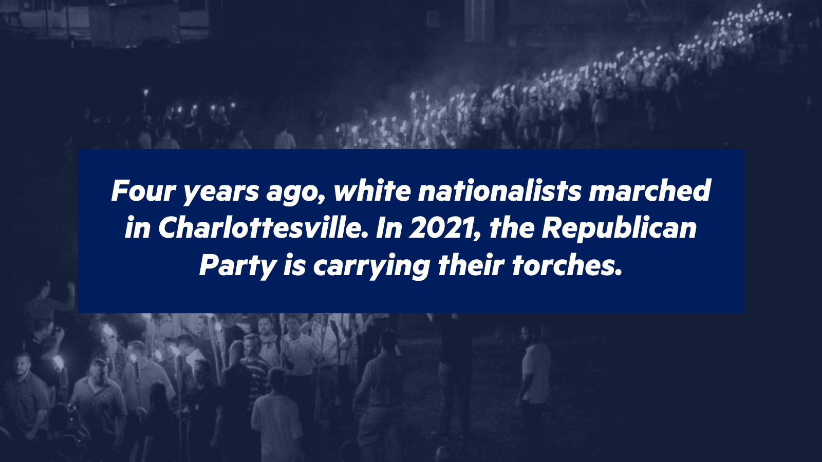 White nationalists marching in Charlottesville, overlaid with text that reads \