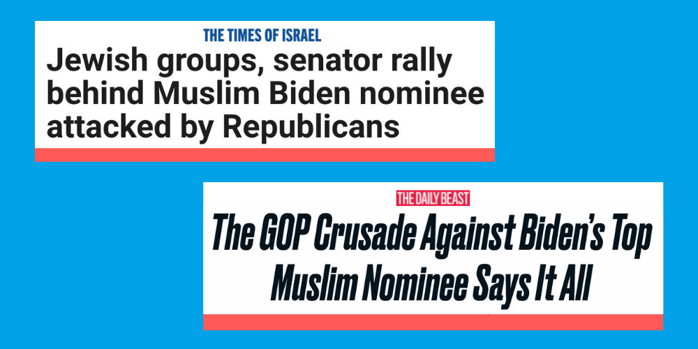 Newspapers Headlines. The Times of Israel: Jewish groups, senator rally behind Muslim Biden nominee attacked by Republicans and The Daily Beast: The GOP Crusade Against Biden's Top Muslim Nominee Says it All