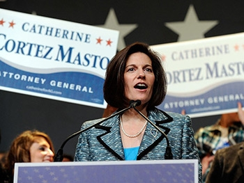 Rep. Catherine Cortez Masto at her acceptance speech on Nov. 9, 2016.